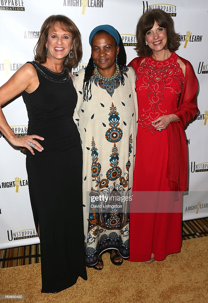 Life coach Connie Viveros, Dr. Tererai Trent and Unstoppable Foundation founder Cynthia Kersey attend the 4th Annual Unstoppable Gala at the Beverly Wilshire Four Seasons Hotel on March 16, 2013 in Beverly Hills, California.