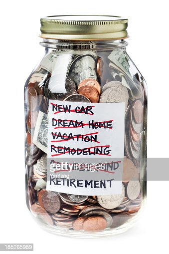 Life financial goals saving jar of money on white for Cute money saving jars