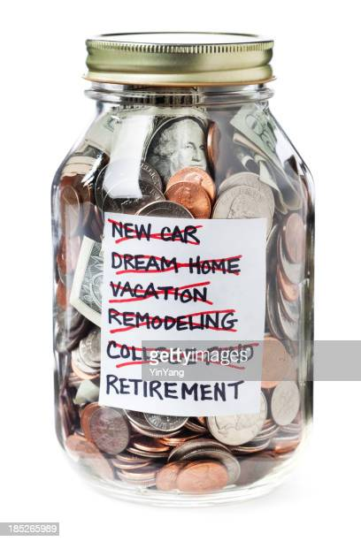 Life Financial Goals Saving Jar of Money on White Background