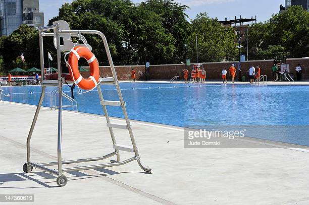Life guard chair at the reopened McCarren Park Pool on June 28 2012 in the Brooklyn borough of New York City