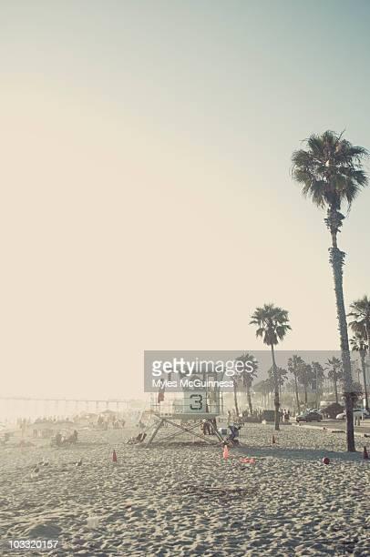 A life guard looks toward the ocean in San Diego, California.