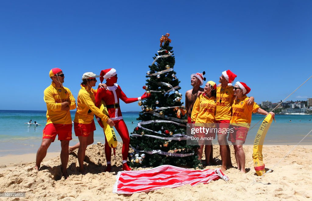 Life Guards Tend To A Giant Christmas Tree They Had Erected At Bondi Beach  On December