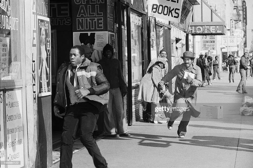 BLUES 'Life in the Minors' Episode 318 Pictured Melvin Jones as suspect Bruce Weitz as Det Mick Belker