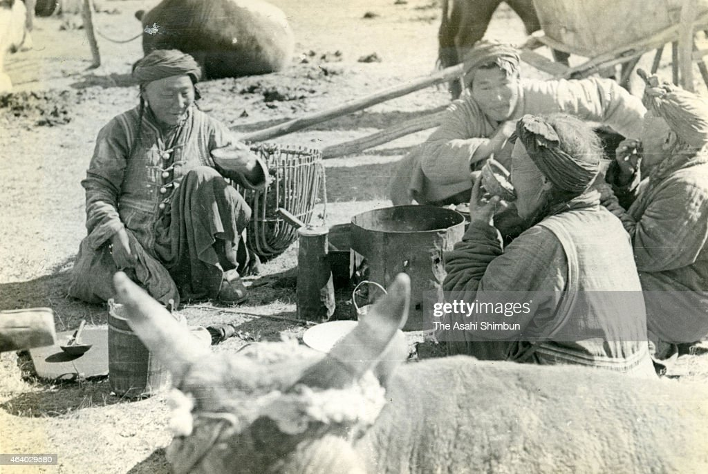 Life of Mongolian nomad circa September 1939 in Hulun Buir, China. The ...