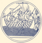Sailing to Crowland 12th century Guthlac of Crowland Christian saint from Lincolnshire England 673–714 AD
