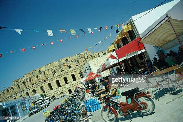 Life on the street leading up to the impressive Collosseum of El Jem.