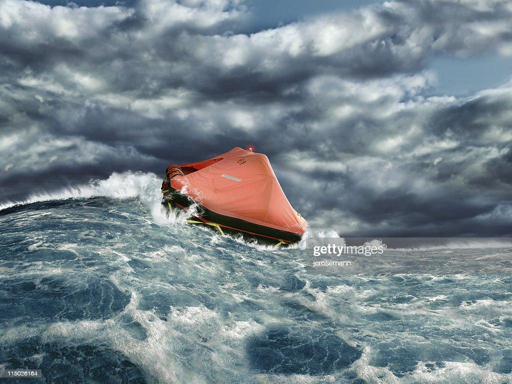 Life raft in stormy ocean