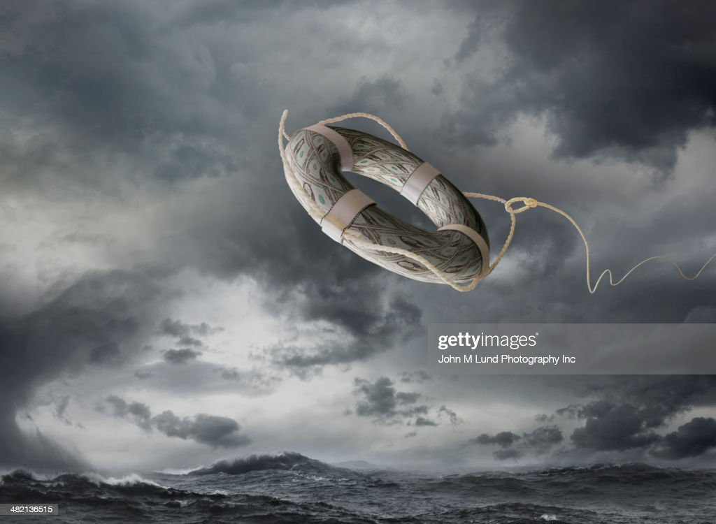 Life ring over stormy sea