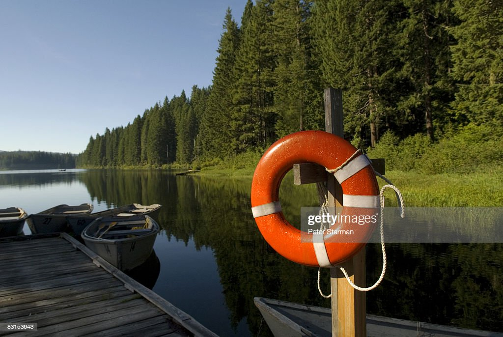 Life saver on boat dock : Stock Photo