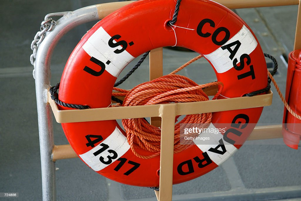 A life saver ring is shown June 13 2002 aboard a Coast Guard boat on patrol in Honolulu Harbor Hawaii The Coast Guard has warned US ports and ships...