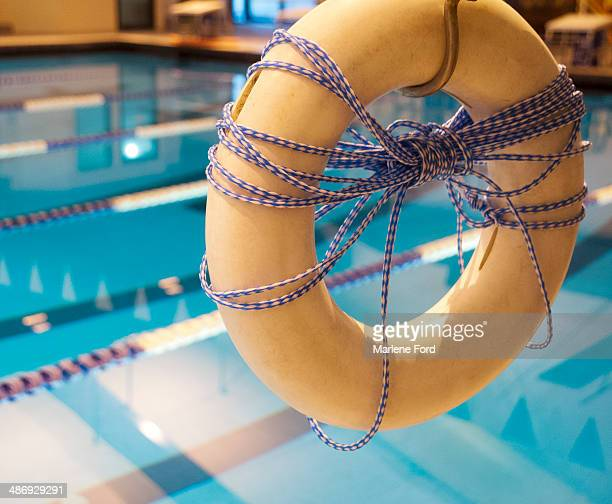 Life saving ring in public pool
