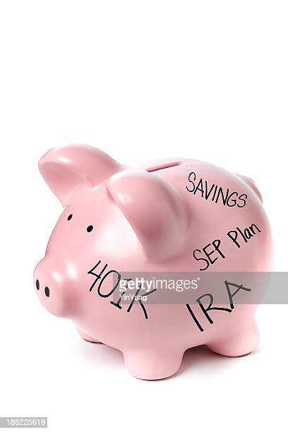 Life Savings Goals Piggy Bank Retirement Planning on White Background