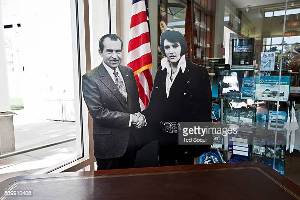 A life size cutout of President Nixon shaking hands with Elvis Presley during his White House visit The Richard Nixon Presidential Library and Museum...