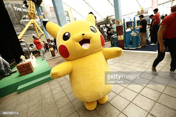 A life size Pikachu character from the anime and game series 'Pokemon' at Hyper Japan the UK's biggest Japanese culture event on July 10 2015 at The...