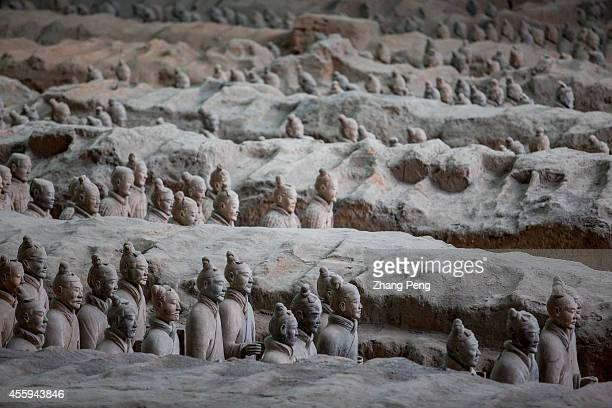 XI'AN SHAANXI CHINA Life size terracotta figures are arranged in battle formations They are exactly the replicas of the imperial guard of Qin shi...