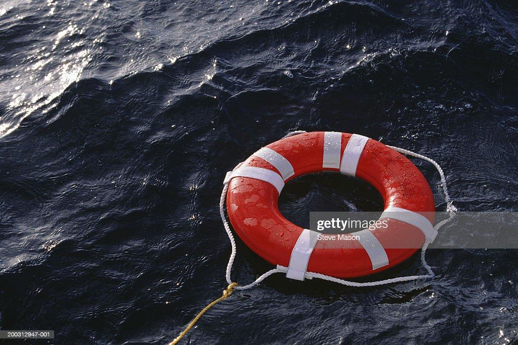 Lifebelt drifting on sea