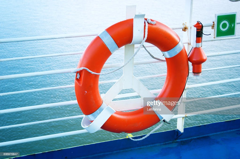 lifebelt on ferry : Stock Photo