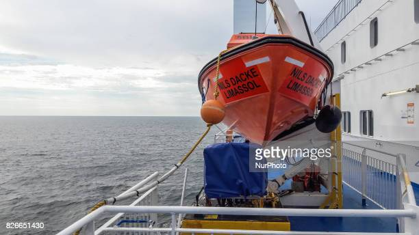 Lifeboat at the Nils Dacke TTline ferry is seen on 30 July 2017 in Swinoujscie Poland