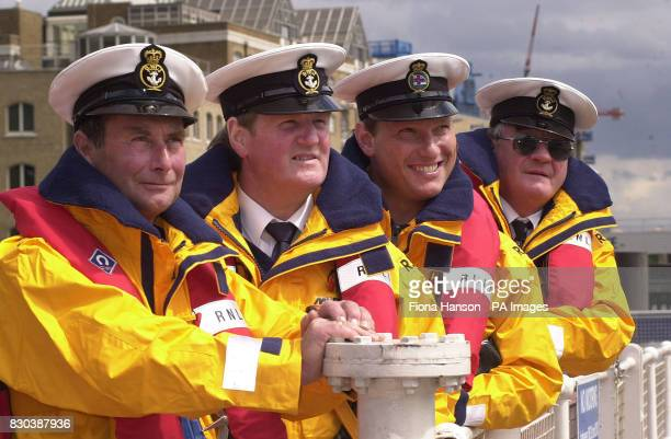 Lifeboat crew from left coxswain Bill Farquhar from Thurso Scotland coxswain Ronald Cannon from Ramsgate Kent Helmsman John Foster from Southend...