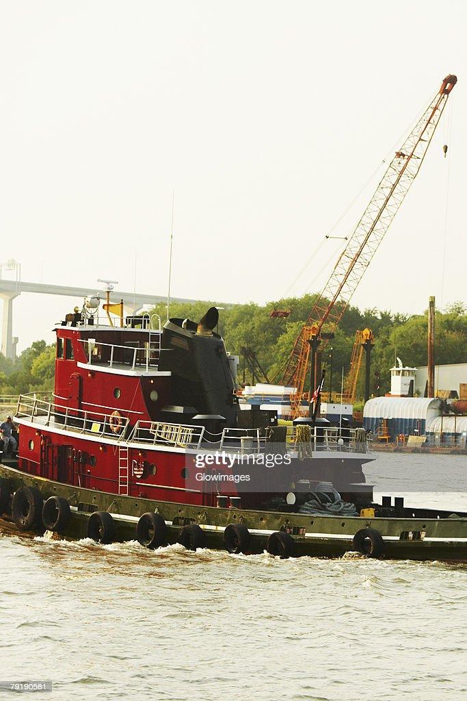 Lifeboat in the river, Savannah, Georgia, USA : Foto de stock