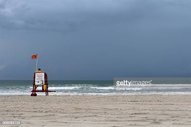 Lifeguard and Stormy Ocean