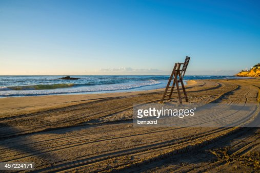 Lifeguard chair on empty beach : Stock Photo