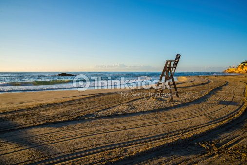 Lifeguard chair on empty beach : Stock Photo