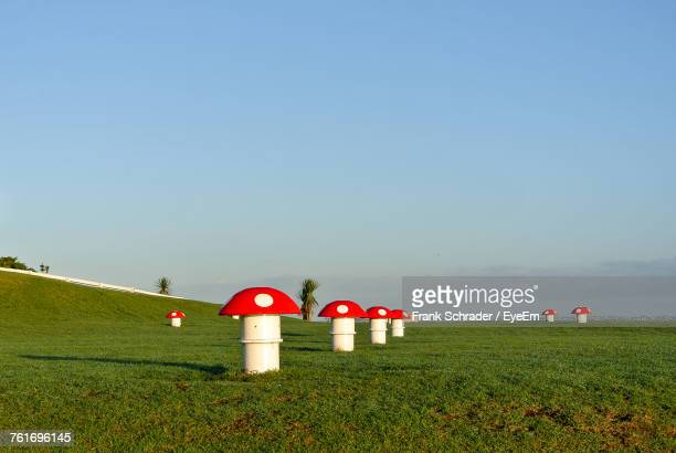 Lifeguard Hut On Field Against Clear Sky