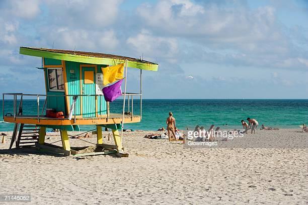 Lifeguard hut on the beach, South Beach, Miami, Florida, USA