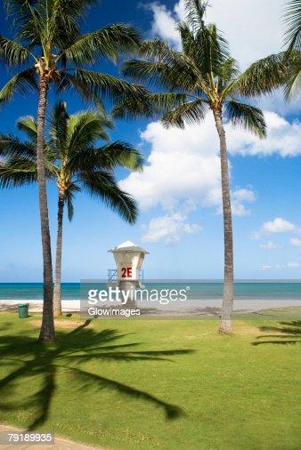 Lifeguard hut on the beach, Waikiki Beach, Honolulu, Oahu, Hawaii Islands, USA : Stock Photo
