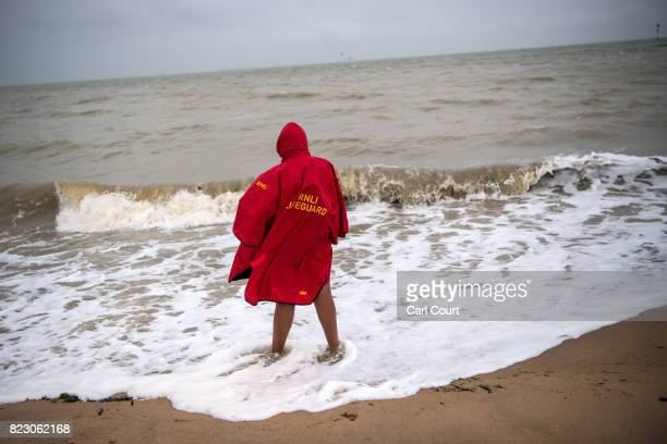A lifeguard keeps watch on the beach on July 26 2017 in Broadstairs England Broadstairs is known as the 'jewel in Thanet's crown' and is a popular...