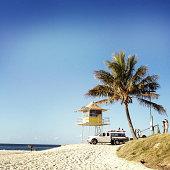 Lifeguard lookout at tropical beach