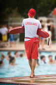 Lifeguard on duty in swimming pool
