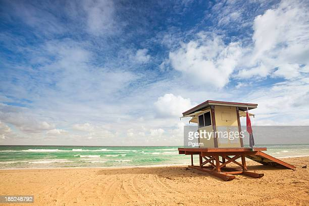 Lifeguard post on empty beach in Miami, Florida