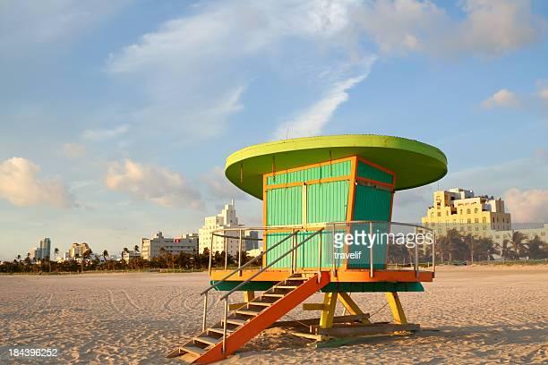 Lifeguard station at dawn, South Beach in Miaimi