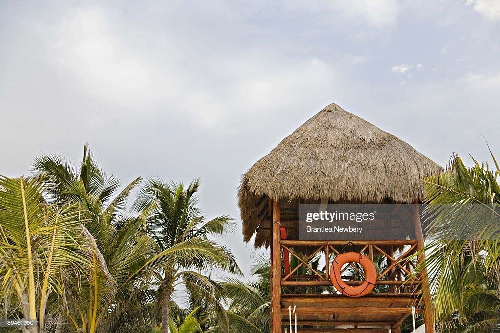 Lifeguard station on beach : Stock Photo