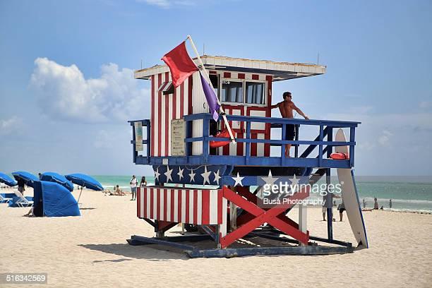 Lifeguard tower in South Beach, Miami Beach