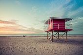 Lifeguard Tower low angle shoot at sunset, Michigan