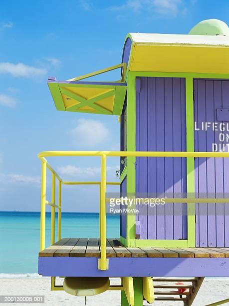 Lifeguard tower on beach, close-up