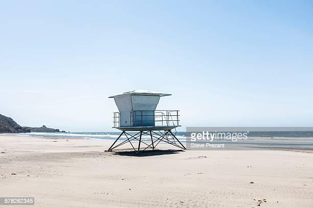 Lifeguard tower on beach, Mendocino County, California, USA