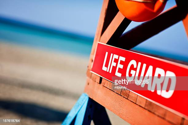 Lifeguard tower on sandy beach