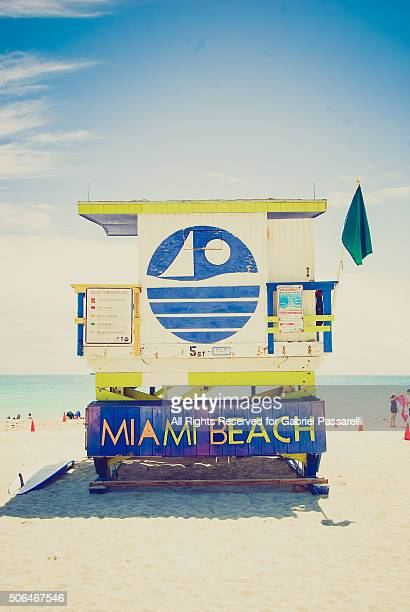 Lifeguard tower, South Beach, Miami, Florida, USA