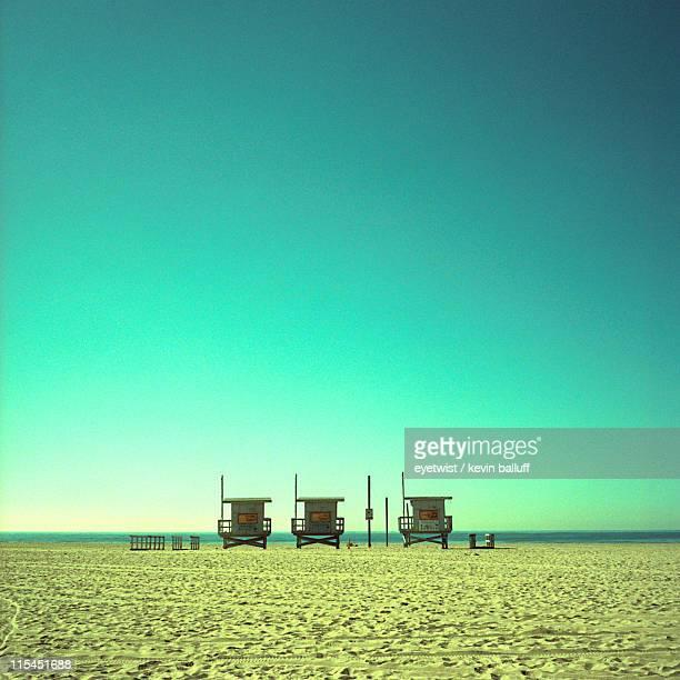 Lifeguard towers on beach