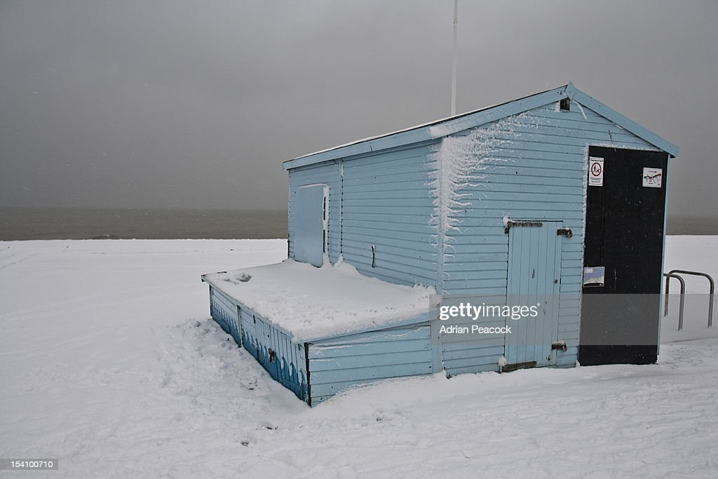lifeguards beach hut in the snow : Stock Photo