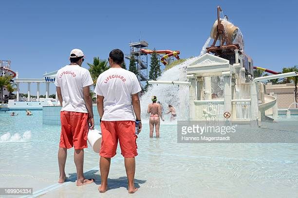 Lifeguards watching the guests of the Waterworld in Ayia Napa on May 25 2013 in Ayia Napya Cyprus Waterworld themed waterpark is Europe's largest...