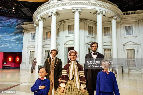 Lifelike statues Mary Todd and family at The White House Abraham Lincoln Presidential Museum