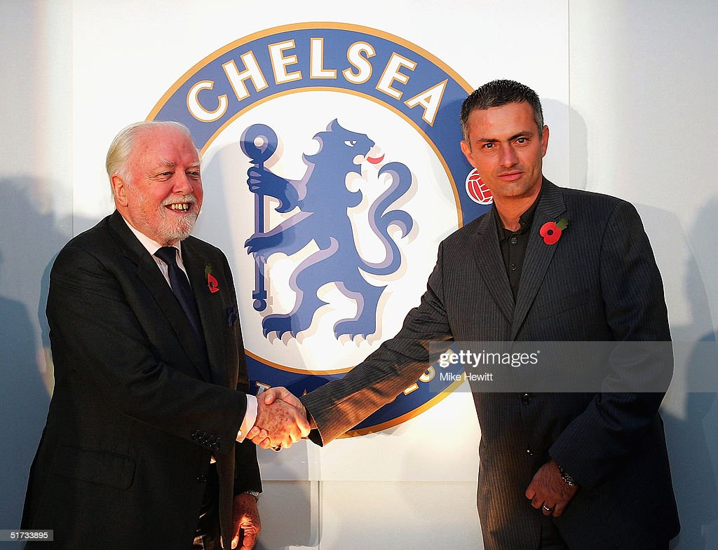 Lifelong Chelsea supporter Lord Attenborough and manager Jose Mourinho unveil the new Chelsea badge during a Chelsea Football Club press conference on November 12, 2004 at Stamford Bridge, London.