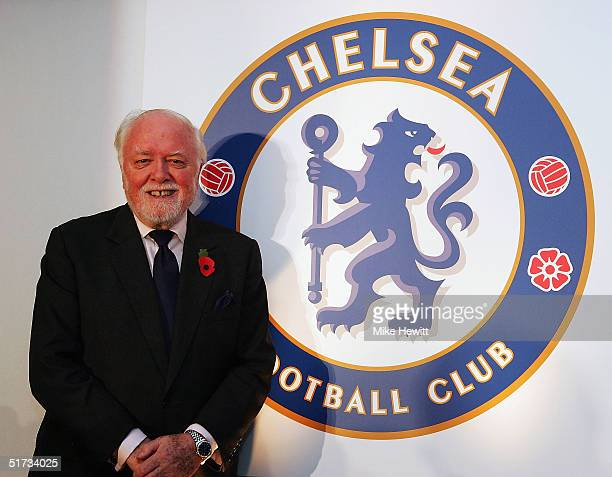 Lifelong Chelsea supporter Lord Attenborough poses at the unveiling of the new Chelsea badge during a Chelsea Football Club press conference on...