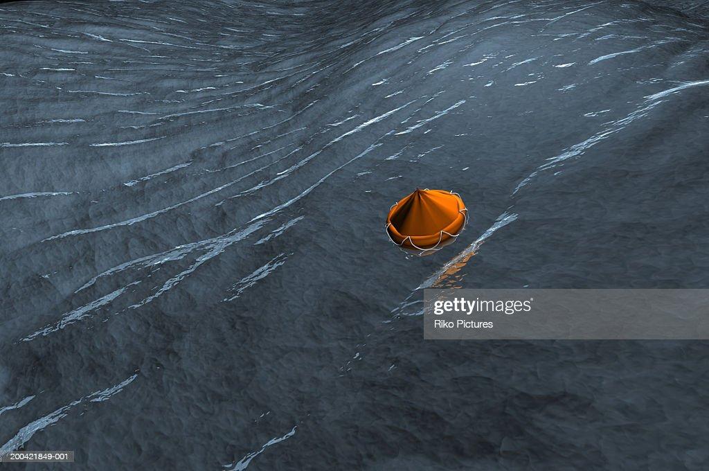 Liferaft in water (Digitally Generated)