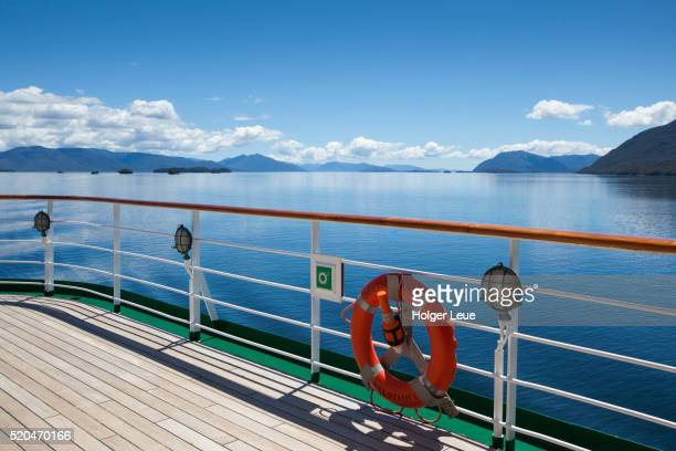 Lifering and railing of cruise ship MS Deutschland